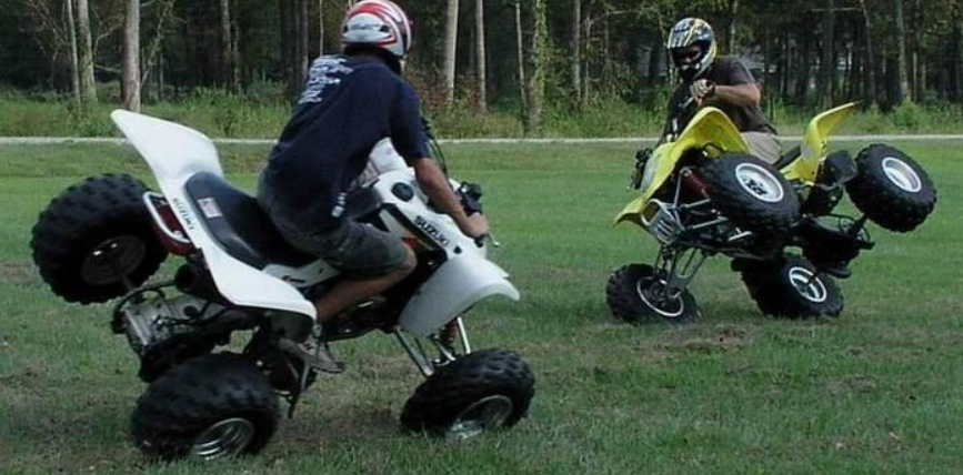 Two wheeled chicken on ATVs