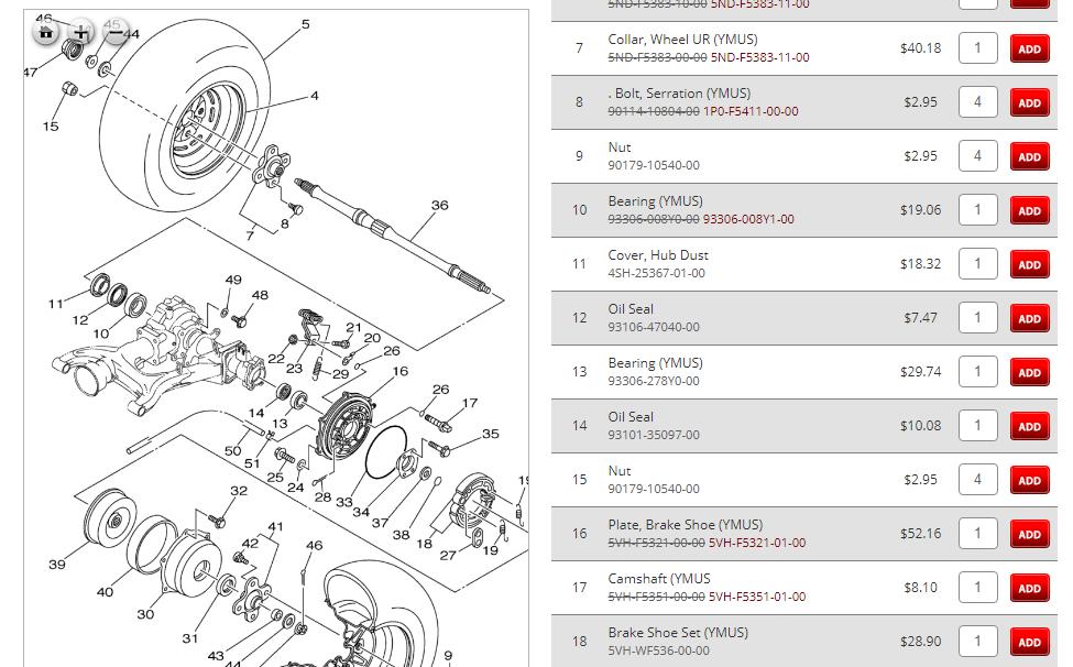 Yamaha Kodiak Rear Wheel Bearing Diagram