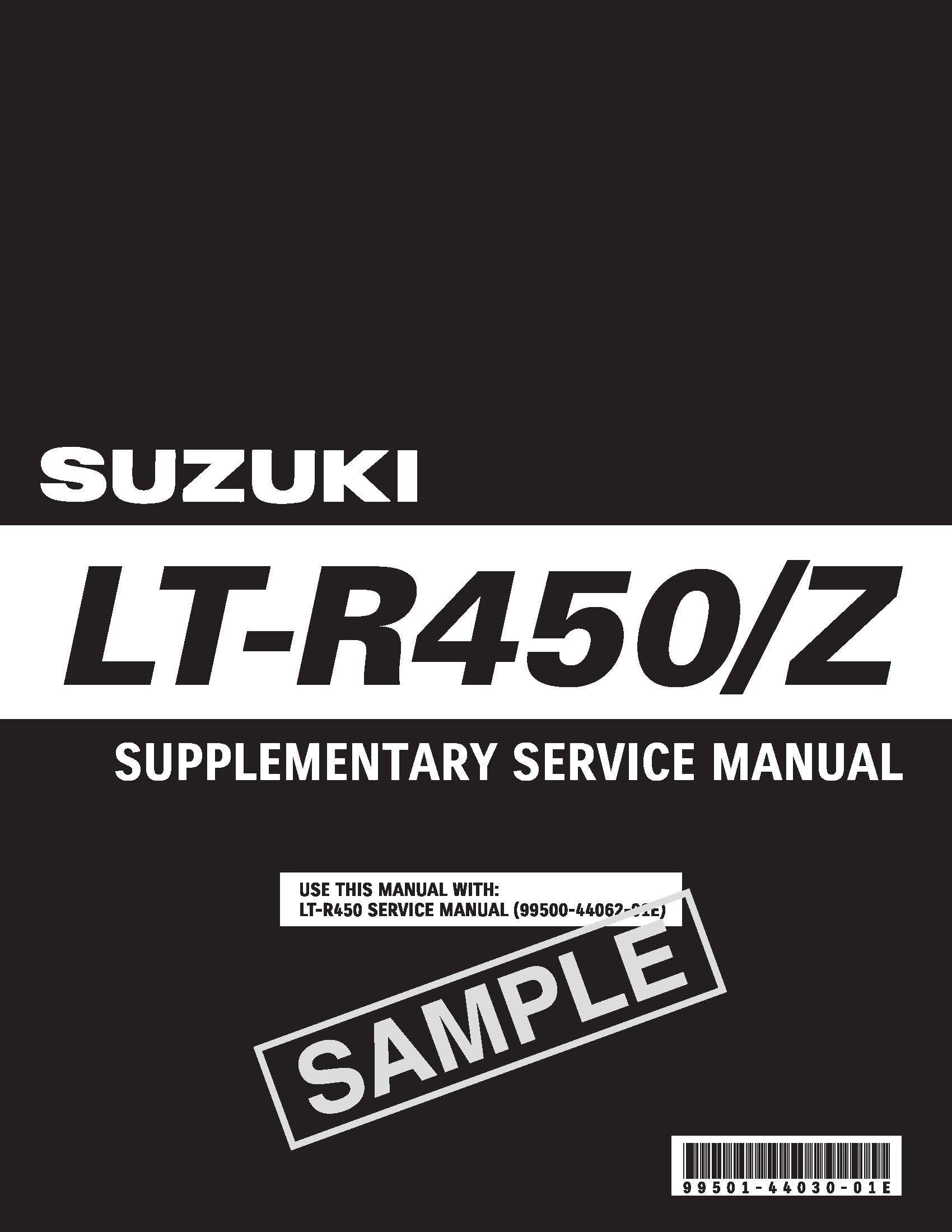 2009 Suzuki QuadRacer LT-R450 Supplement Service Manual