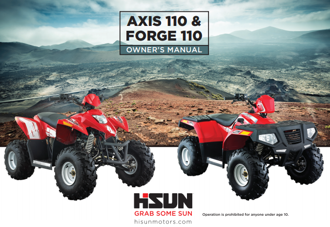 Hisun Axis 110 & Forge 110 ATV Owner's Manual