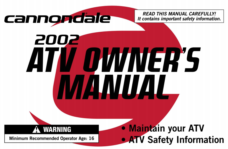 2002 Cannondale ATV Owner's Manual