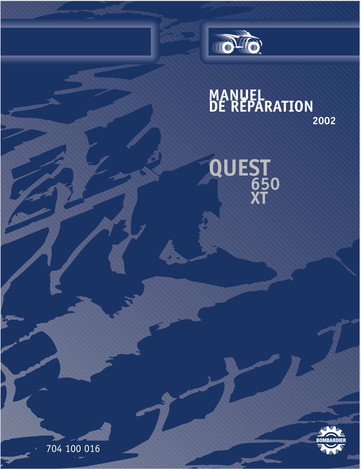 2002 Bombardier Quest 650, 650 XT Service Manual